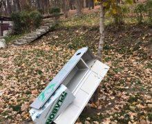 «Что они там искали?» В парке Валя Морилор кто-то повредил контейнеры для экскрементов животных