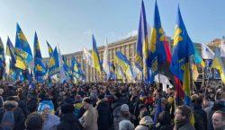«Нет — капитуляции». ВКиеве наМайдане иуофиса президента прошли акции протеста