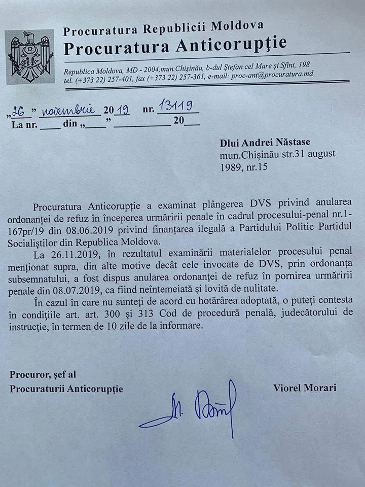 DOC Dosarul privind finanțarea ilegală a PSRM va fi reluat. Procuratura Anticorupție a admis solicitarea lui Năstase