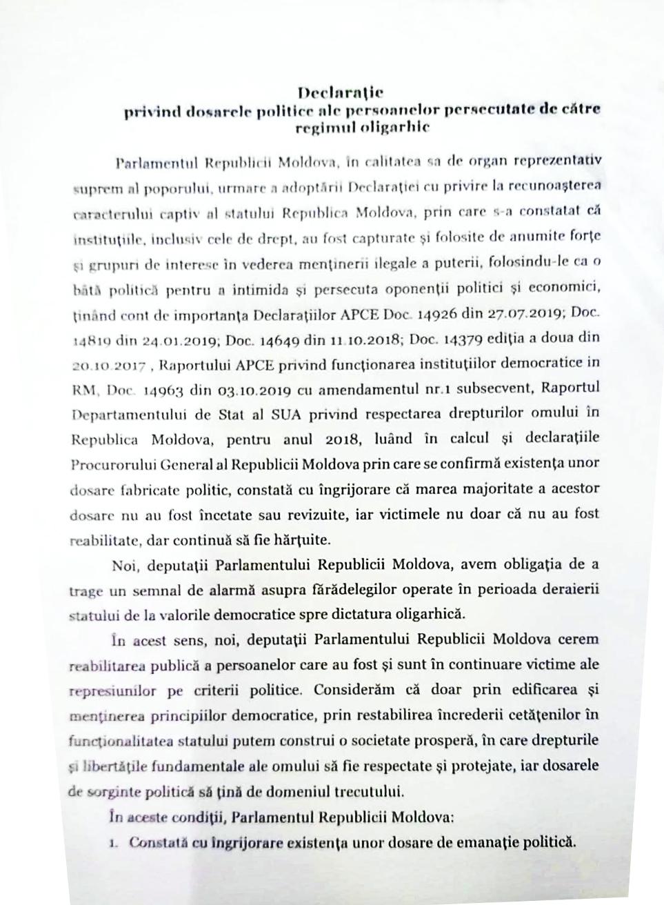De revizuit, de reabilitat, de pedepsit. NM publică textul Declarației despre persecutările politice de către regimul oligarhic