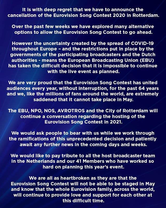 Eurovision 2020 a fost anulat din cauza pandemiei de coronavirus