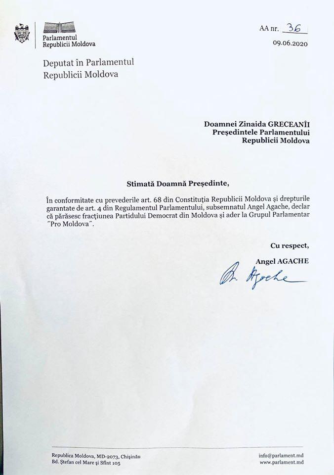 UPDATE Deputatul Angel Agache părăsește Partidul Democrat și aderă la Pro Moldova