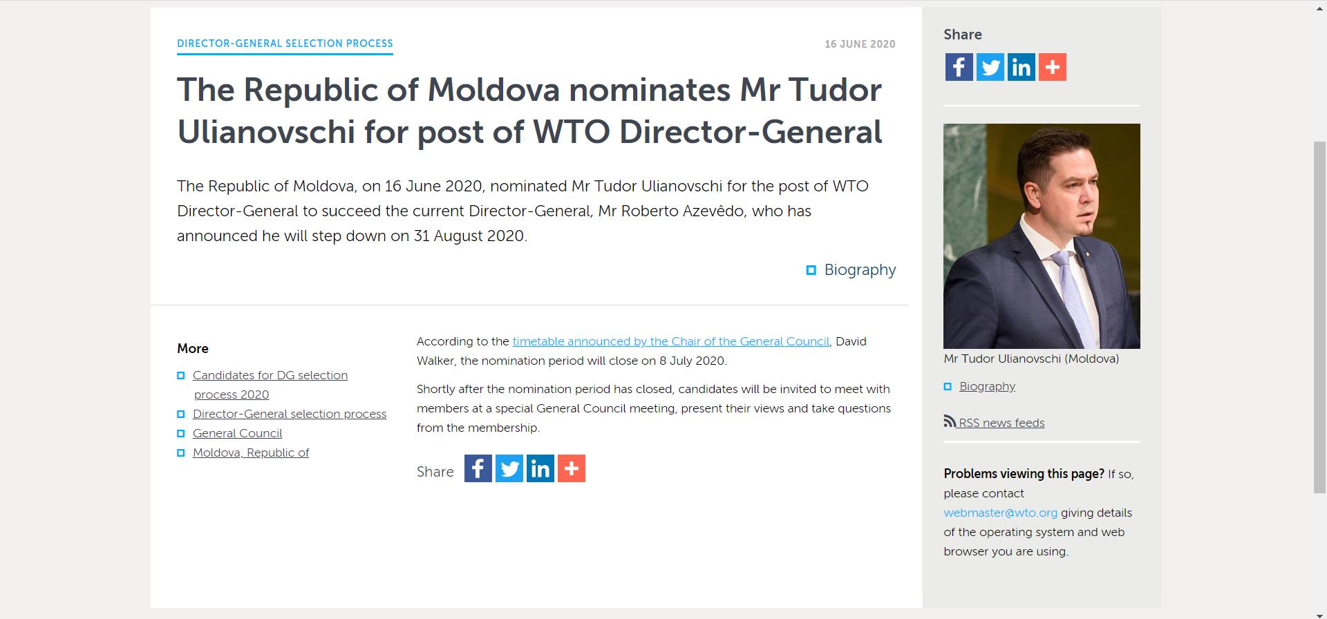 Tudor Ulianovschi a fost propus la funcția de director general al Organizației Mondiale a Comerțului