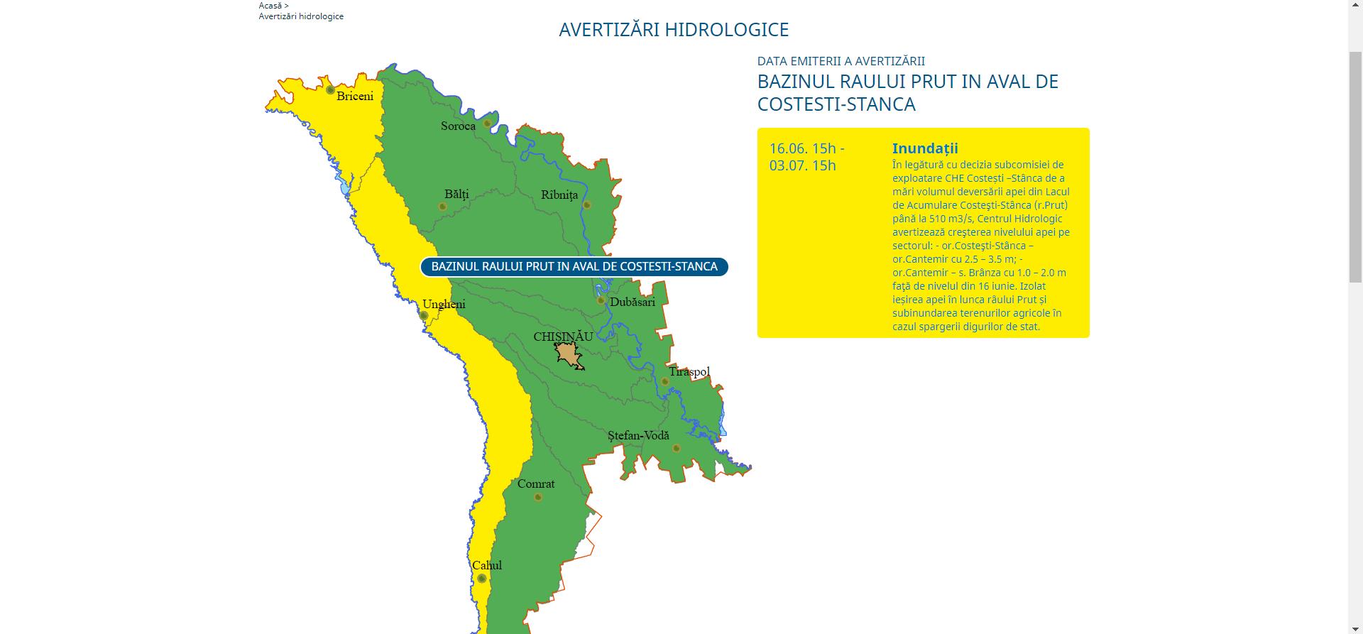 Cod galben de inundații de-a lungul luncii râului Prut