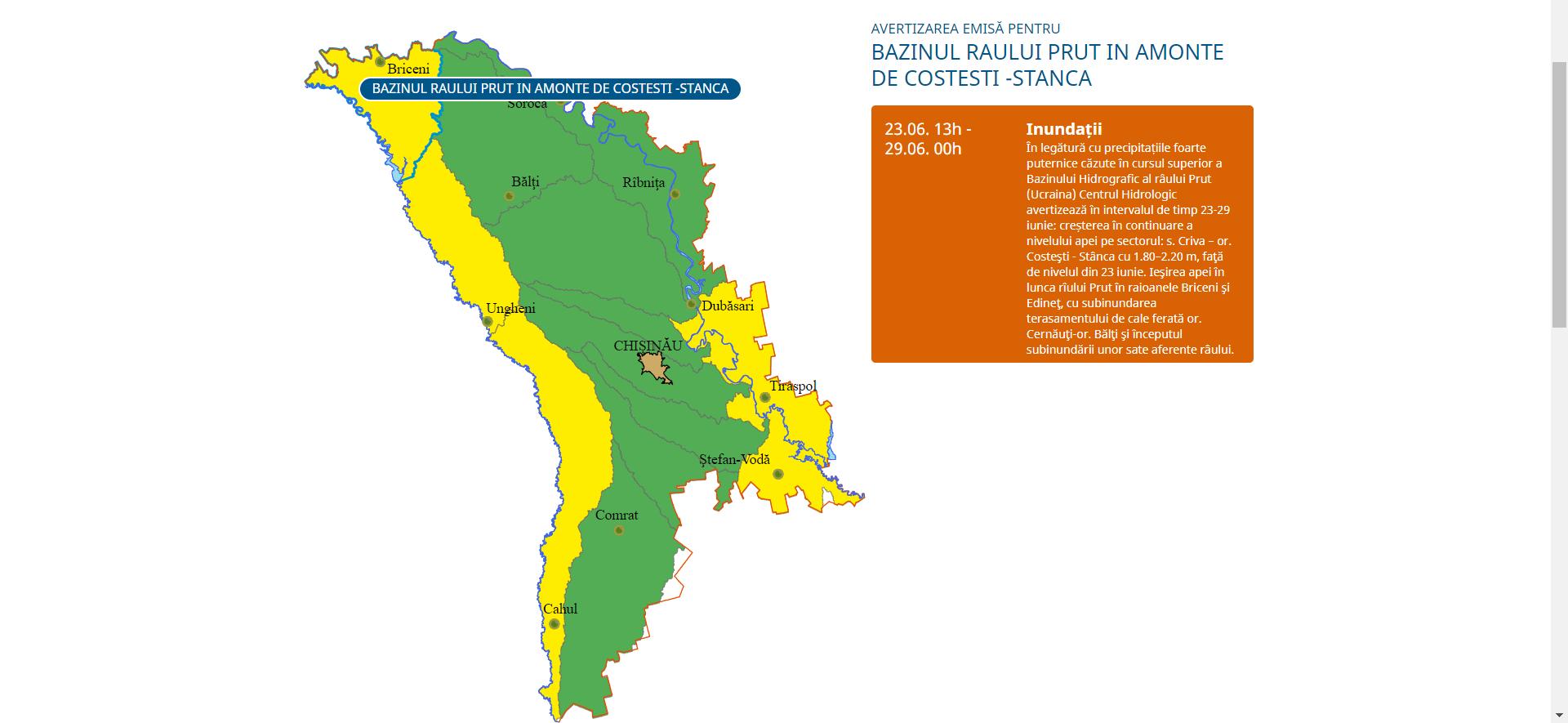 Cod portocaliu de inundații în bazinul râului Prut. Cu cât ar putea crește nivelul apei
