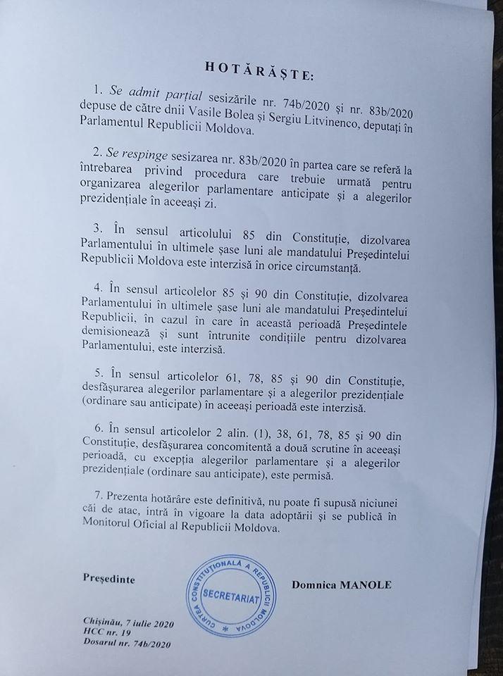 CC a decis: Alegerile prezidențiale nu se pot desfășura concomitent cu alegerile parlamentare (UPDATE)