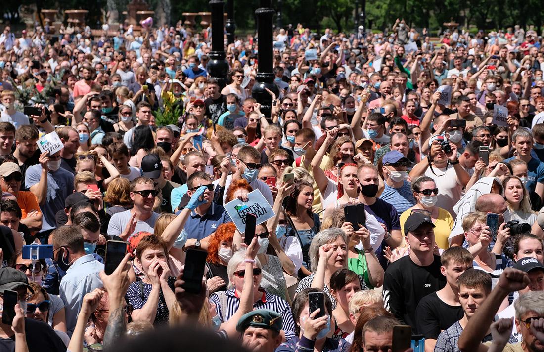 VIDEO Protest de amploare la Habarovsk. Mii de oameni au cerut eliberarea guvernatorului regiunii, acuzat de omor