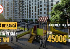 2-x комнатная квартира на Валя Морилор: от4500€— первый взнос, врассрочку на5 лет, без участия банка