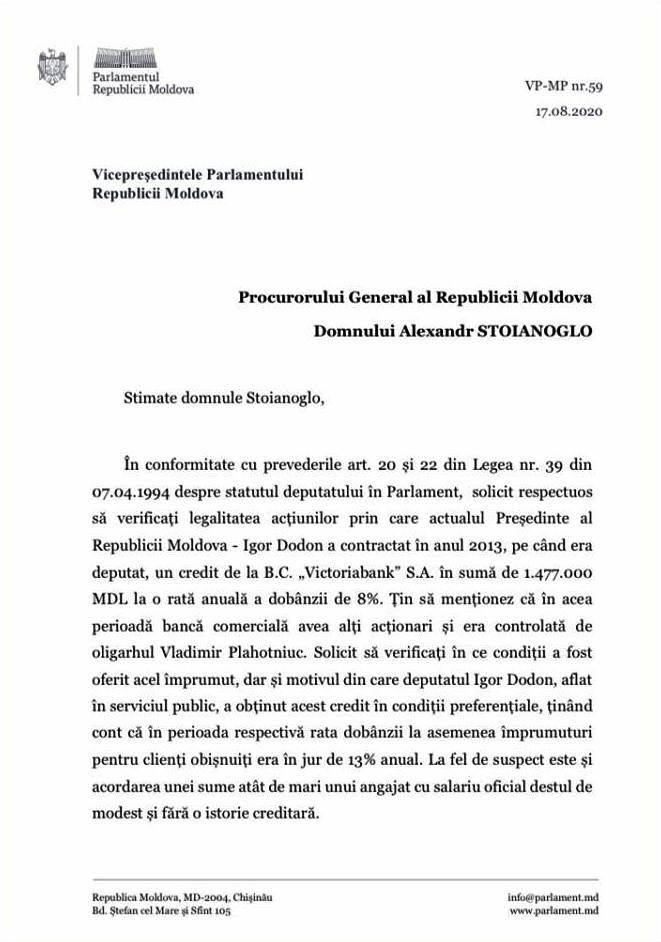 Deputatul Mihai Popșoi s-a adresat la PG. Solicită să fie verificată legalitatea acțiunilor prin care Dodon a contractat un credit de 1,4 milioane lei în 2013