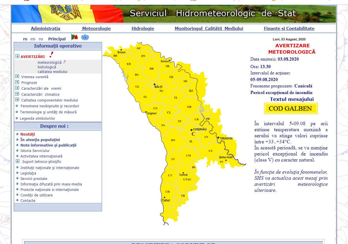Cod galben de caniculă în Republica Moldova. Ce temperaturi ne așteaptă în zilele următoare