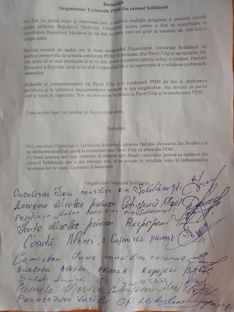 DOC Mai mulți membri ai Organizației Teritoriale Șoldănești ai PDM au anunțat că părăsesc formațiunea