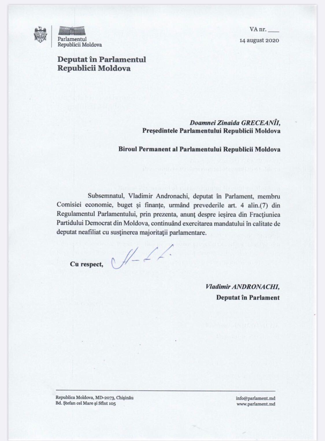 Vladimir Andronachi părăsește fracțiunea Partidului Democrat. Precizările deputatului