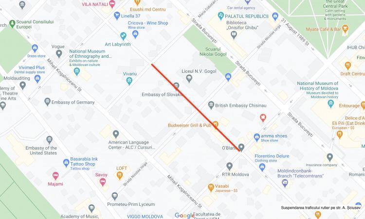 Вцентре Кишинева нанесколько дней перекроют две улицы (КАРТА)