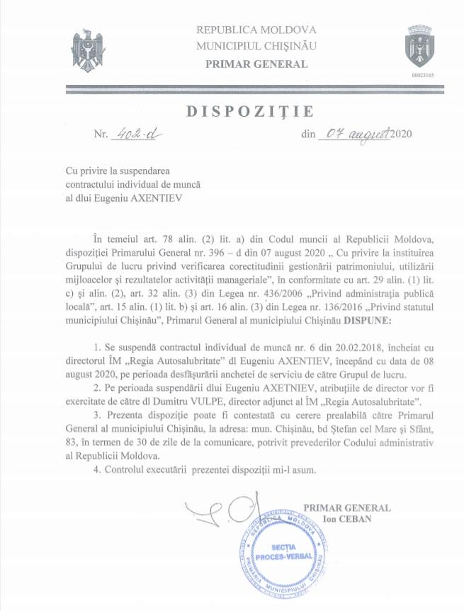 DOC Directorul Regiei Autosalubritate, suspendat din funcție pe perioada desfășurării anchetei de serviciu