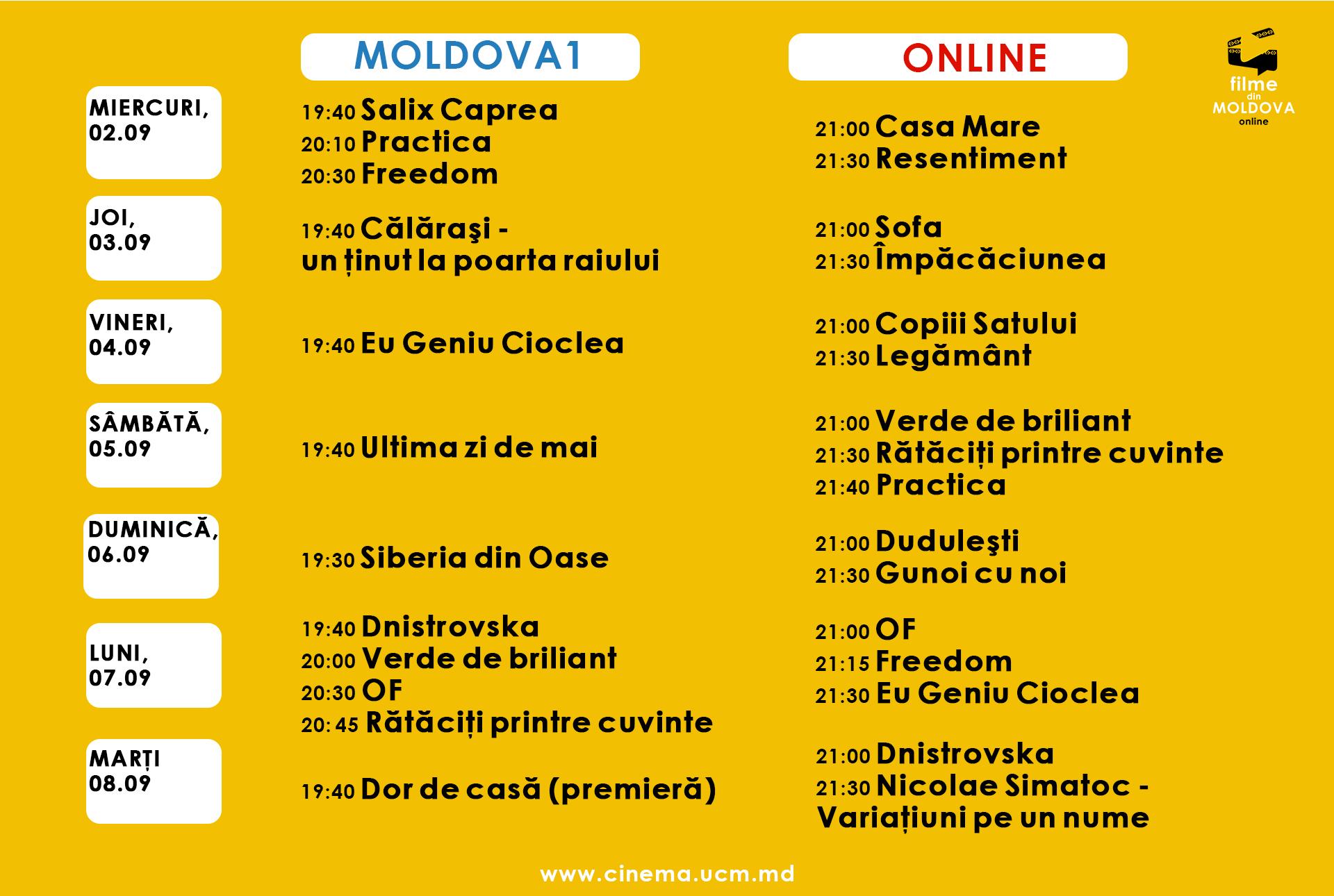 """22 de filme moldovenești vor fi difuzate în cadrul proiectului """"Filme din Moldova – online"""", în perioada 2-8 septembrie"""