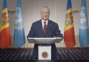 «Ни одна страна не может справиться с проблемами в одиночку». Додон выступил на онлайн-сессии Генассамблеи ООН (ВИДЕО)