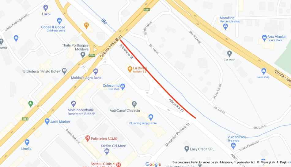 Traficul rutier pe str. Albișoara în perimetrul străzilor Vieru și Pușkin va fi suspendat timp de două zile