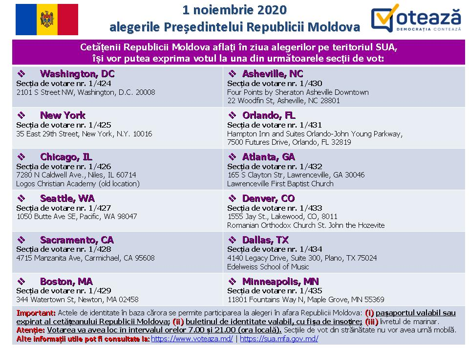 Alegeri prezidențiale. Adresele secțiilor de votare pentru moldovenii din SUA și Canada (DOC)
