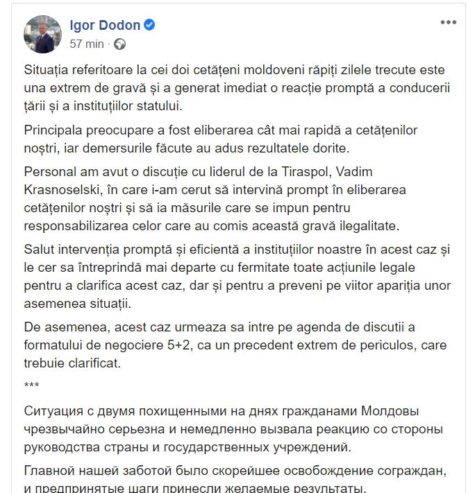 """Dodon a discutat cu Krasnoselski despre moldovenii răpiți. Un deputat PAS l-a criticat: """"Nici măcar nu știe că sunt 4"""""""