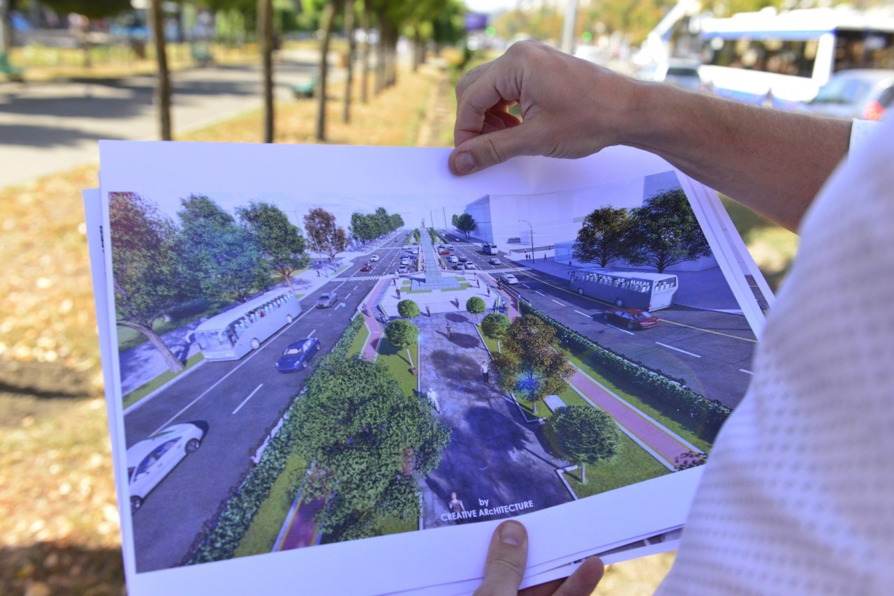ВКишиневе набульваре Гр.Виеру временно перенесли остановку общественного транспорта