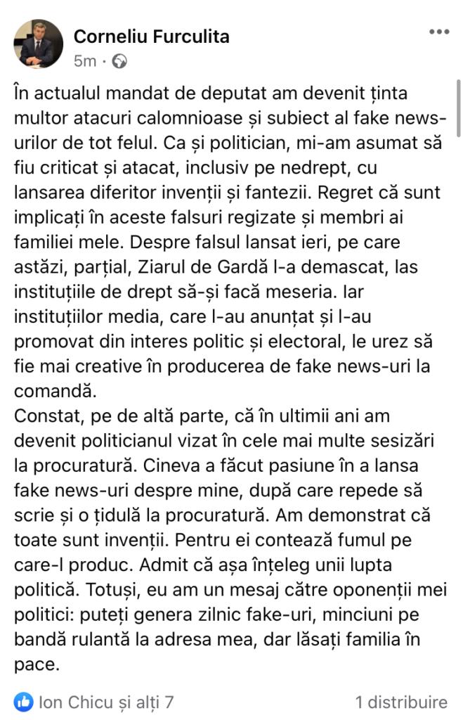 Prima reacție a deputatului socialist Corneliu Furculiță, după interceptările apărute în presă