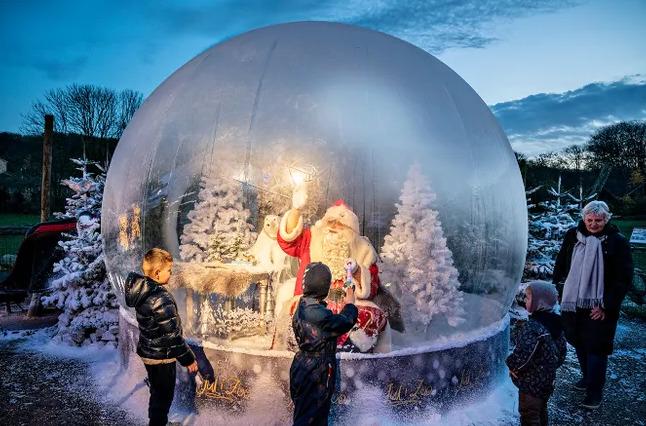 ВСША из-за эпидемии коронавируса Санта-Клаусы встречают детей заоргстеклом (ФОТО)