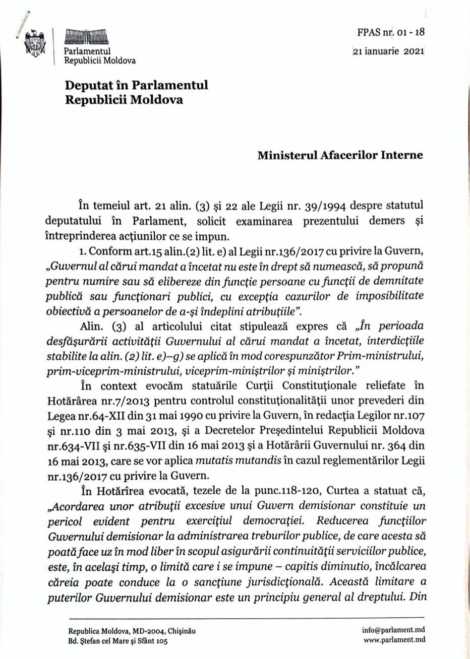 """""""Este un abuz clar"""". Deputații PAS, Lilian Carp și Dumitru Alaiba cer demisia lui Petru Corduneanu"""