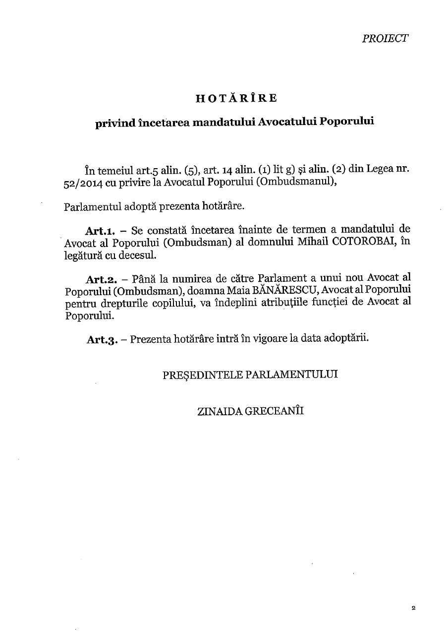 Maia Bănărescu ar putea prelua atribuțiile avocatului poporului