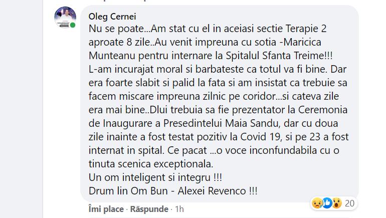 Vocea inconfundabilă s-a stins. Maestrul în artă Alexei Revenco a murit din cauza infecției Covid