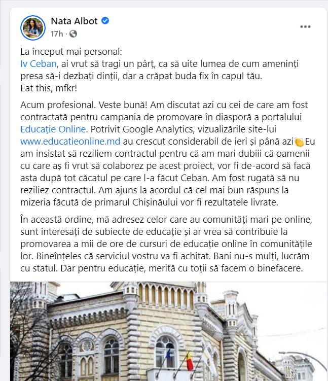 """""""Eu optez pentru reziliere"""". Ceban insistă ca Primăria să rupă contractul cu Nata Albot"""