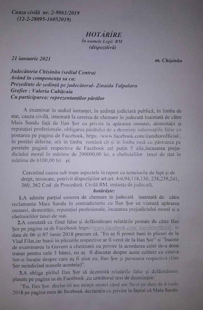 Ilan Șor, obligat să dezmintă afirmațiile că Maia Sandu ar fi primit bani în plic (DOC)