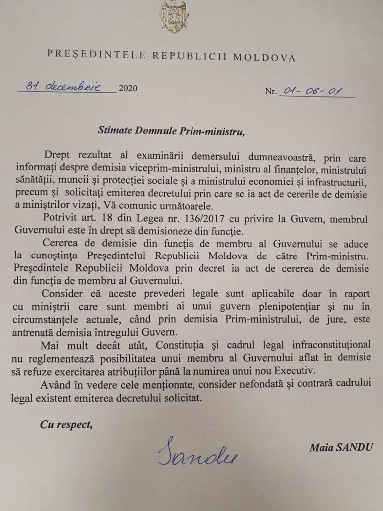 Санду отказалась утвердить отставку трех министров. Социалисты заявили, что их«силой» пытаются оставить увласти (DOC)