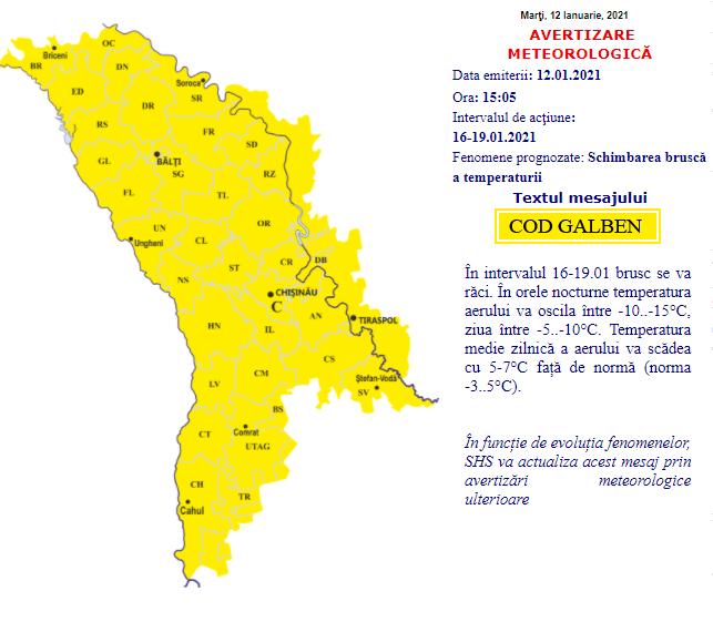 ATENȚIE: Cod galben de răcire bruscă a vremii pe tot teritoriul țării