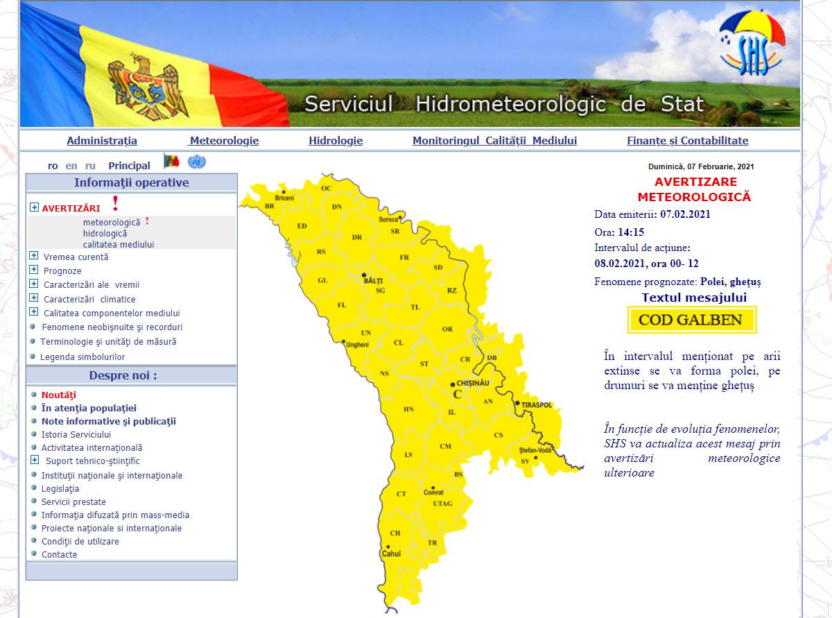 ВМолдове объявили желтый код опасности из-за гололеда