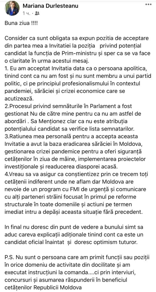 """""""Am acceptat pentru eradicarea sărăciei în Moldova"""". Mariana Durleștean explică de ce și-a dorit funcția de premier"""