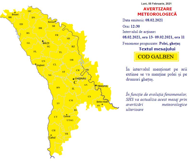 В Молдове синоптики продлили желтый код метеоопасности из-за гололеда