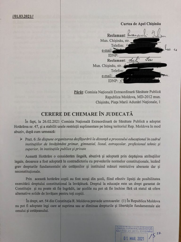 """""""Contravine Constituției"""". Un birou de avocați a acționat în judecată decizia privind învățământul online (DOC)"""