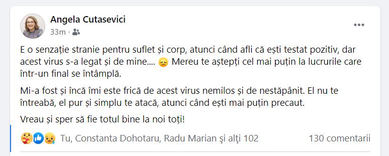 Viceprimarul capitalei Angela Cutasevici, testată pozitiv cu COVID-19