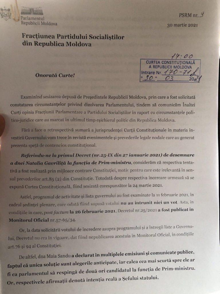 """Socialiștii au sesizat CC, privind """"inexistența circumstanțelor de dizolvare a parlamentului"""""""