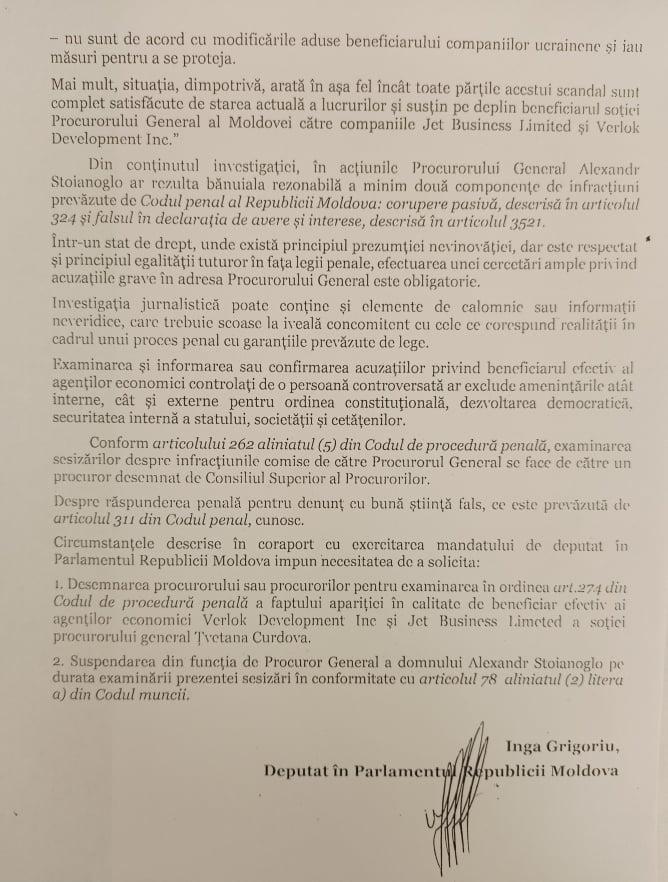 Deputata Inga Grigoriu a solicitat suspendarea temporară din funcție a lui Stoianoglo. Care este motivul (DOC)