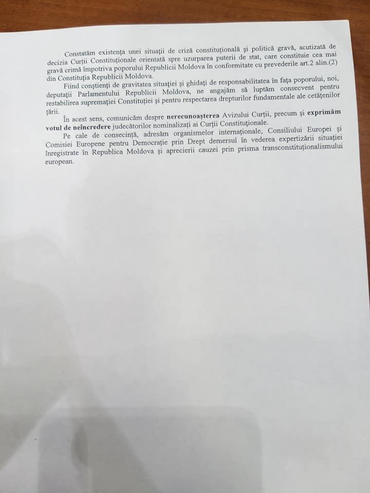 Депутаты от ПСРМ зарегистрировали декларацию об узурпации власти КС (DOC)