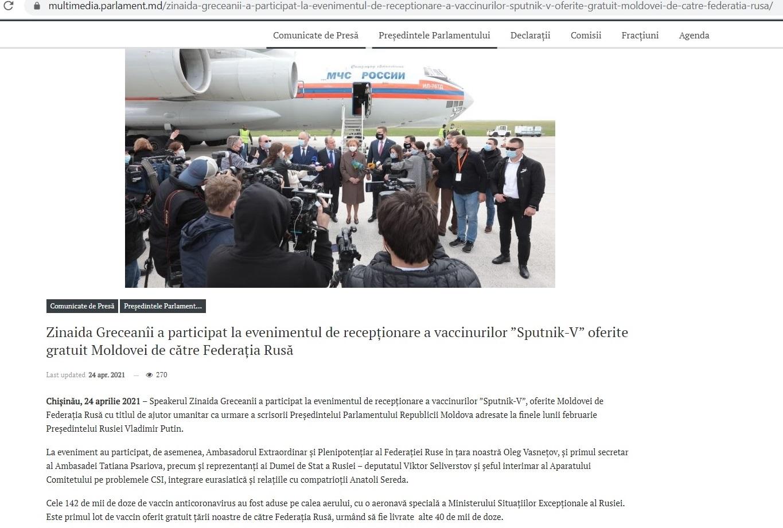 Parlamentul și Dodon dezinformează? Moldova a primit 71 de mii de doze de vaccin Sputnik-V, nu 142 de mii
