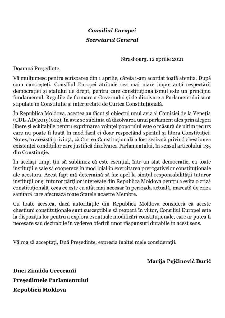 Răspunsul secretarului General al Consiliului Europei la demersul Zinaidei Grecianîi, privind alegerile anticipate (DOC)