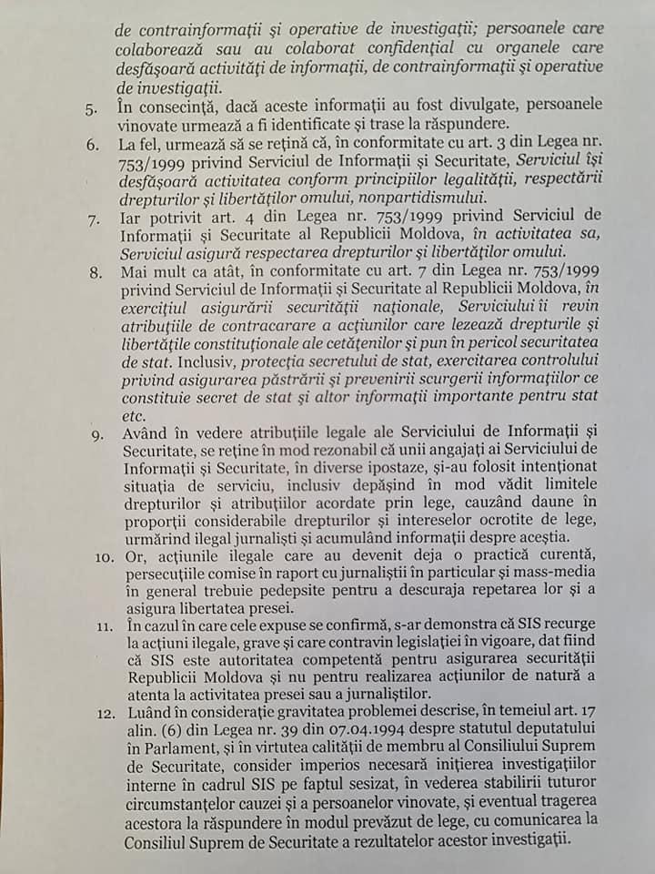 """""""Au apărut insinuări că angajații SIS urmăresc jurnaliștii"""". Moțpan a solicitat inițierea unei anchete interne (DOC)"""
