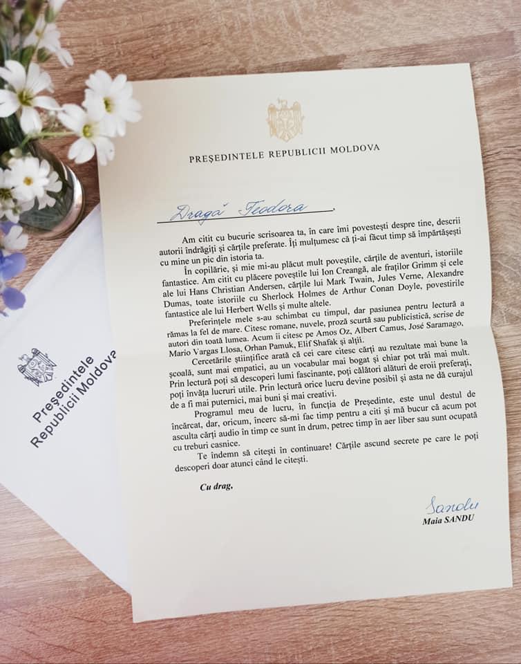 Maia Sandu i-a trimis o scrisoare unei fetițe, după ce aceasta i-a povestit despre cărțile și autorii ei preferați