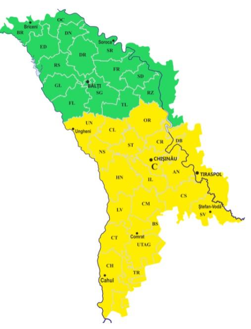 Cod galben de ploi puternice în raioanele din centrul și sudul țării