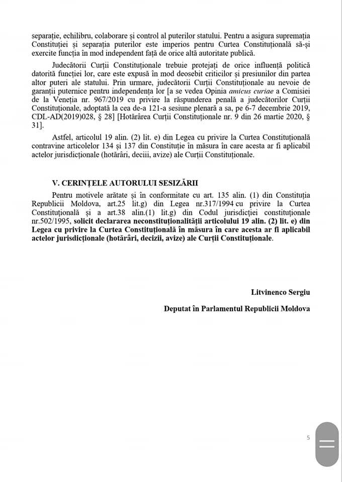 Litvinenco a sesizat CC, după ce ANI a demarat un control în privința Domnicăi Manole(DOC)