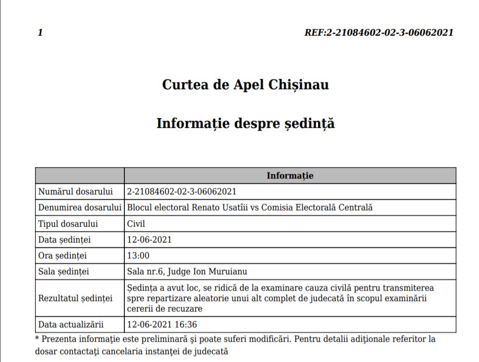 Examinarea contestației față de decizia CEC, din nou pe pauză. O nouă ședință a fost stabilită pentru luni (DOC)
