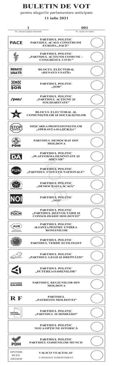 Alegeri parlamentare anticipate: CEC a aprobat modelul buletinului de vot şi ordinea de înscriere a concurenţilor electorali (FOTO)