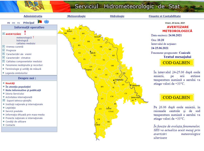ВМолдове ожидается жаркая погода. Синоптики продлили желтый код метеоопасности